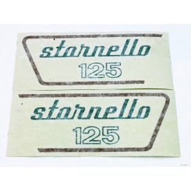 """Coppia scritte \\""""Stornello 125\\"""" 5 marce 70.506 - 53917800 - 53917900 Decalcomanie scritte coperchi laterali13,30€ 13,30€"""